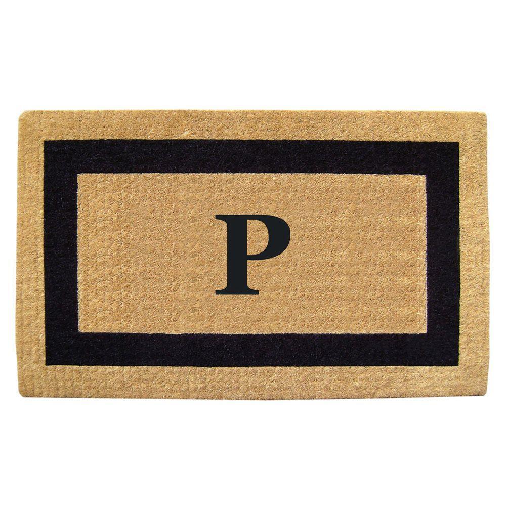 Single Picture Frame Black 22 in. x 36 in. HeavyDuty Coir Monogrammed P Door Mat
