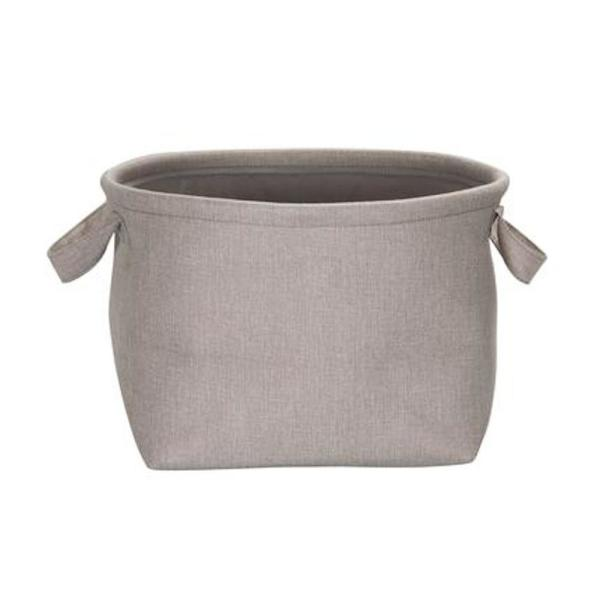 Gray Collapsible Fabric Laundry Basket with Linen Lining and Handles