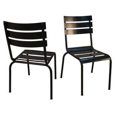 Rhea Black Metal Stacking Chairs (Set of 2)