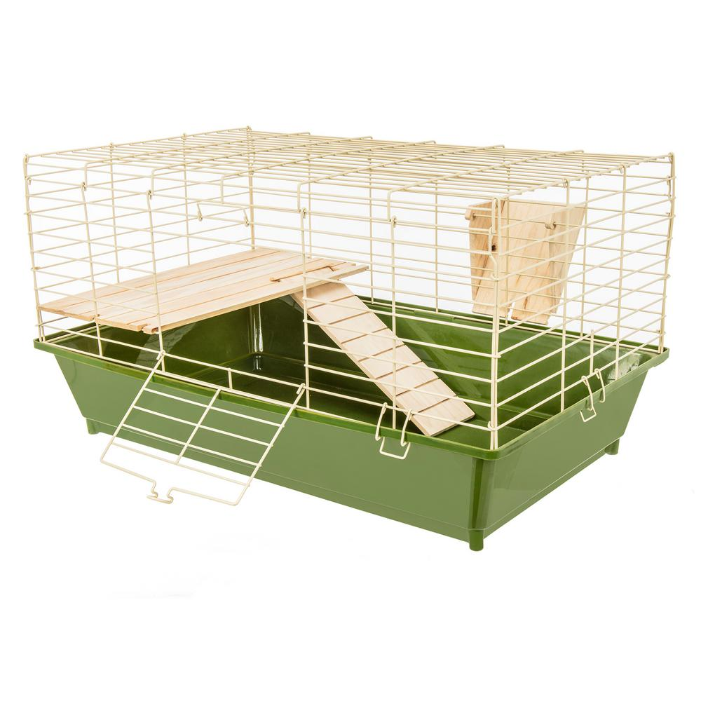 Guinea Pig Cage with Wooden Shelf, Ramp