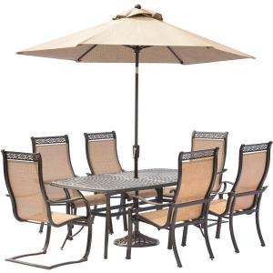 Hanover Manor 7-Piece Aluminum Rectangular Outdoor Dining Set with 2 Spring Sling Chairs, Cast-Top Table,... by Hanover