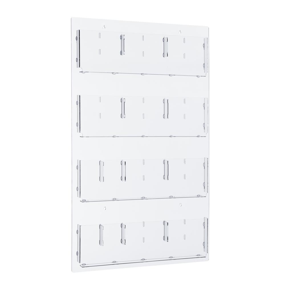 AdirOffice AdirOffice 29 in. x 48 in. Adjustable Pockets Clear Acrylic Hanging Magazine Rack