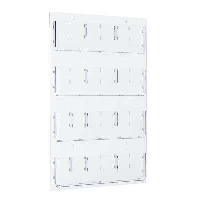 29 in. x 48 in. Adjustable Pockets Clear Acrylic Hanging Magazine Rack
