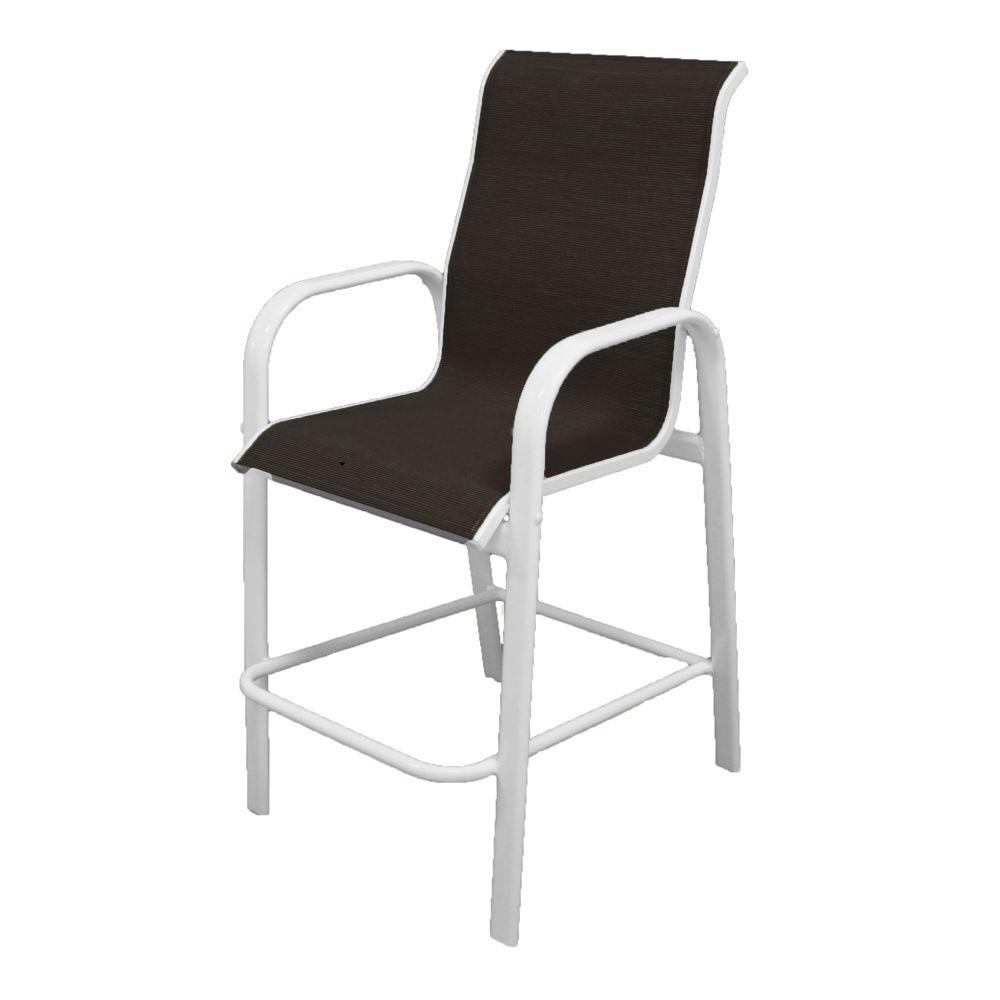 Marco Island White Commercial Grade Aluminum Sling Outdoor Bar Stool in