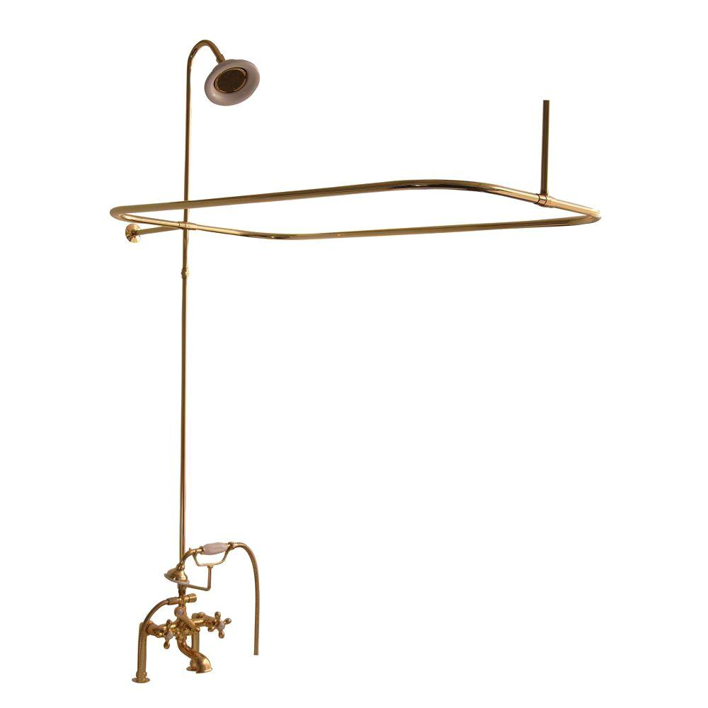 Barclay Products 3-Handle Claw Foot Tub Faucet with Hand Shower and Shower Unit in Polished Brass
