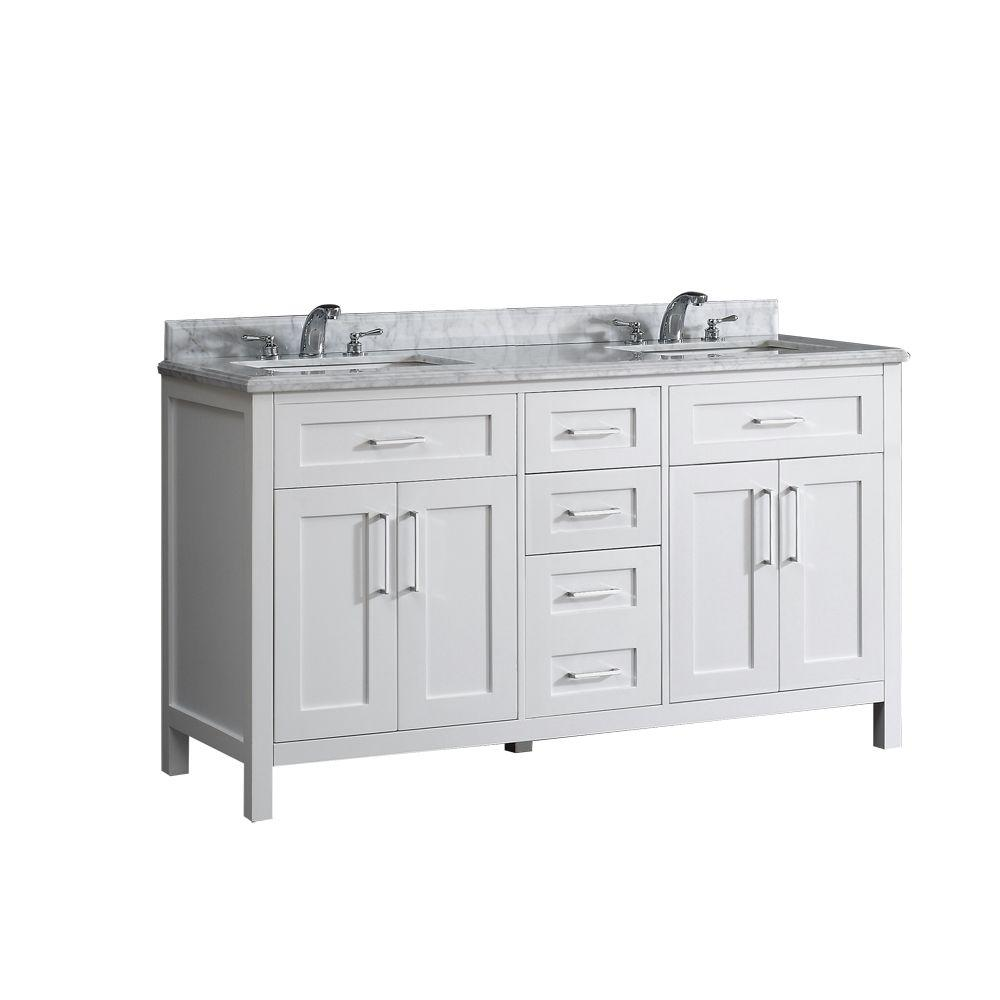 Pegasus Santa Monica 60 in. W x 21 in. D Vanity in White with Marble Vanity Top in White with White Basins