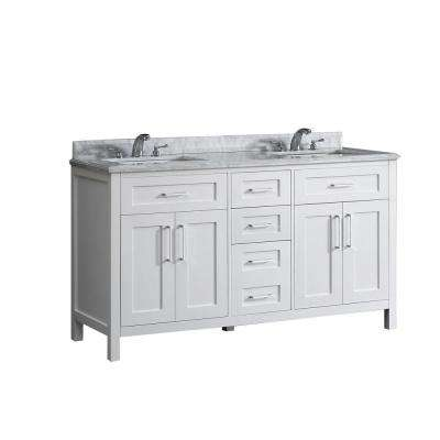 Santa Monica 60 in. W x 21 in. D Vanity in White with Marble Vanity Top in White with White Basins