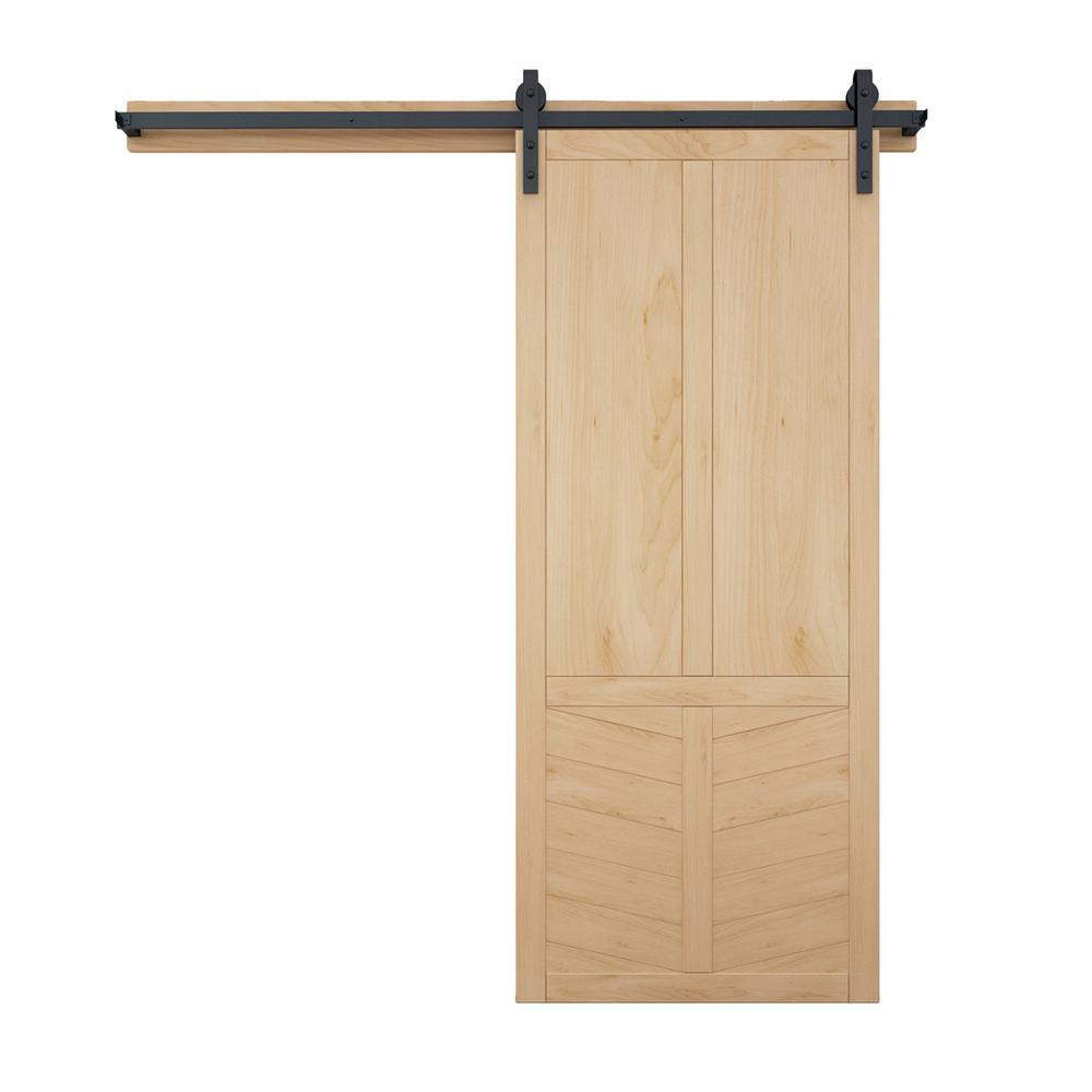 36 in. x 84 in. The Robinhood Unfinished Wood Barn Door with Sliding Door Hardware Kit