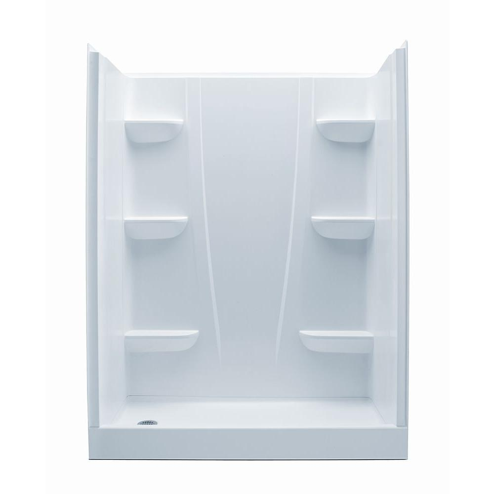 Aquatic A2 30 in. x 60 in. x 76 in. 4-Piece Shower Stall in White ...