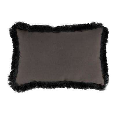 Sunbrella 19 in. x 12 in. Canvas Coal Lumbar Outdoor Throw Pillow with Black Fringe