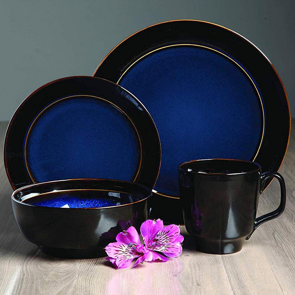 Bella Galleria 16-Piece Blue Reactive Glaze Dinnerware Set