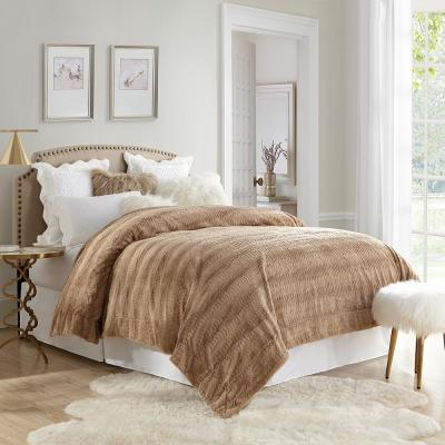 Stylish Tan Embossed Faux Fur Reverse to Micomink King Blanket
