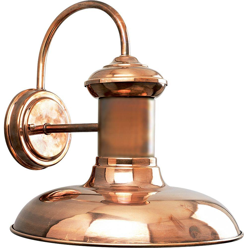 Progress Lighting Brookside Collection 1-Light Outdoor 12 Inch Copper Wall Lantern