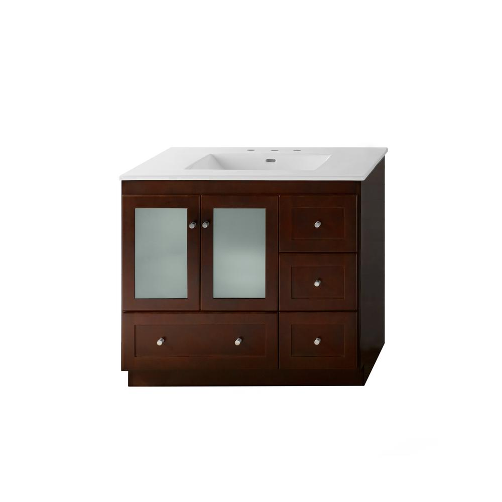 Ronbow Essentials Shaker 36 In W Vanity Dark Cherry With Vitreous China Top White Basin