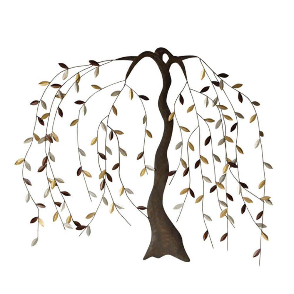 Home Decorators Collection 35.25 in. x 42.5 in Willow Gold/Bronze Metal Wall Art