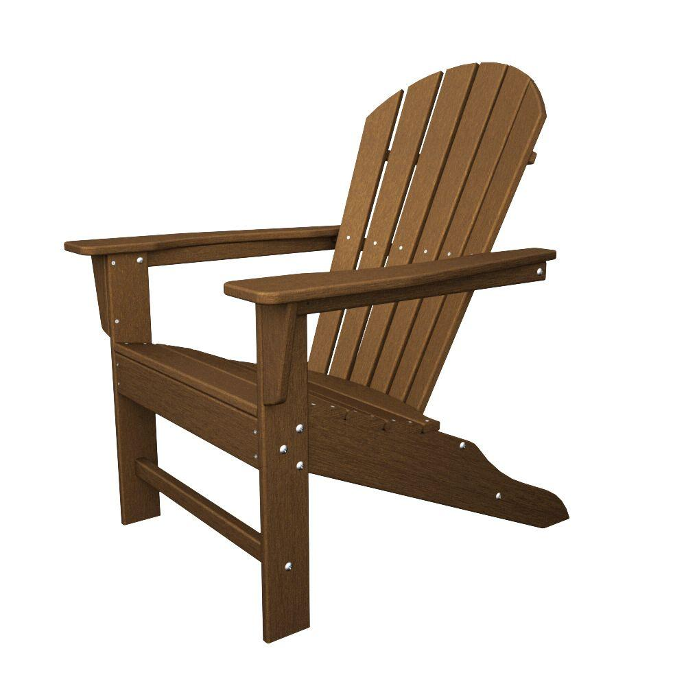 POLYWOOD South Beach Teak Plastic Patio Adirondack Chair-SBA15TE ...