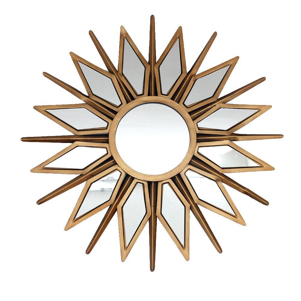 Medium Sunburst Gold Classic Accent Mirror with Metal Frame (24 in. Diameter)