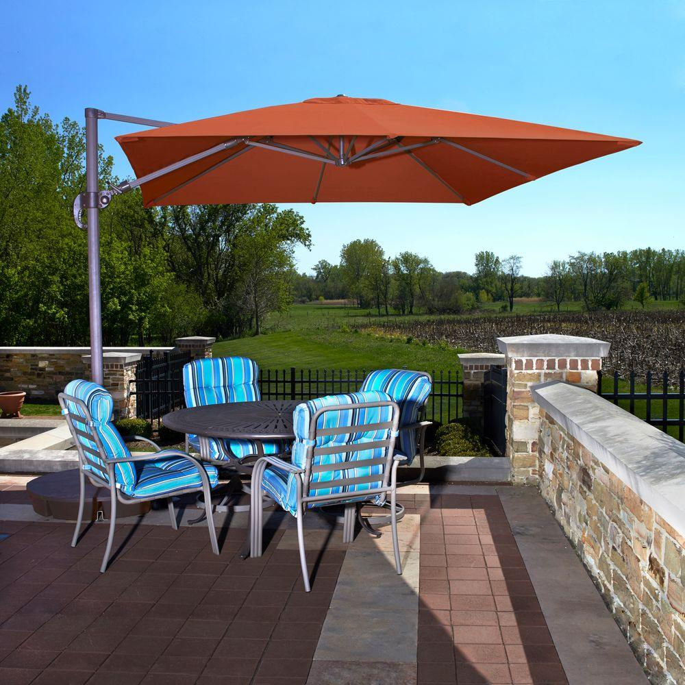 Exceptionnel Island Umbrella Santorini II 10 Ft. Square Cantilever Patio Umbrella In  Terra Cotta Sunbrella Acrylic