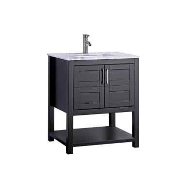 Nord 24 in. W x 22 in. D x 40 in. H Vanity in Espresso with Marble Vanity Top in White with White Basin