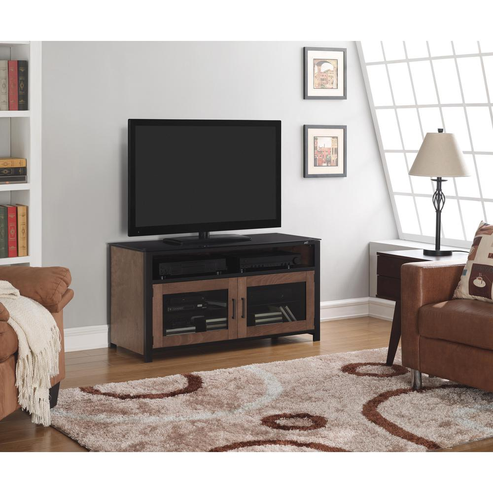 Bell'O Cocoa and Matte Black Storage Entertainment Center
