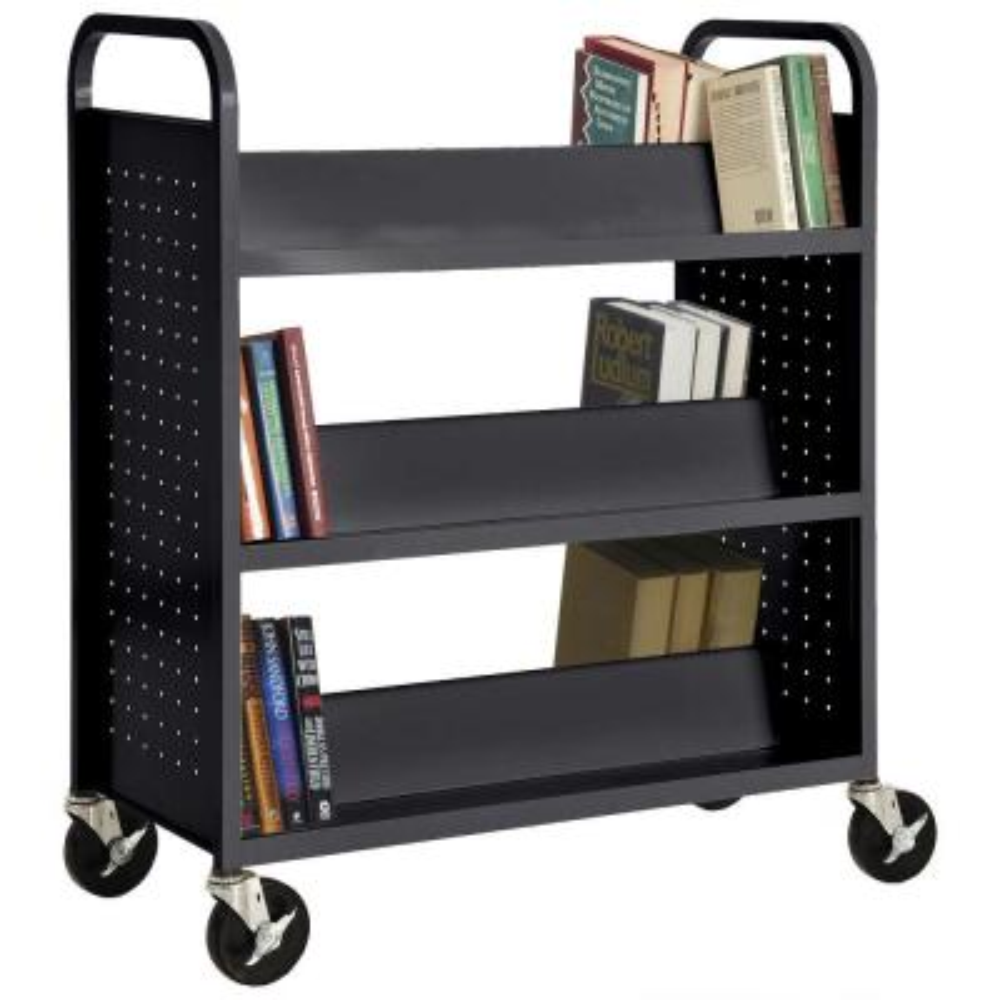 46 in. Black Metal 3-shelf Cart Bookcase with Locking