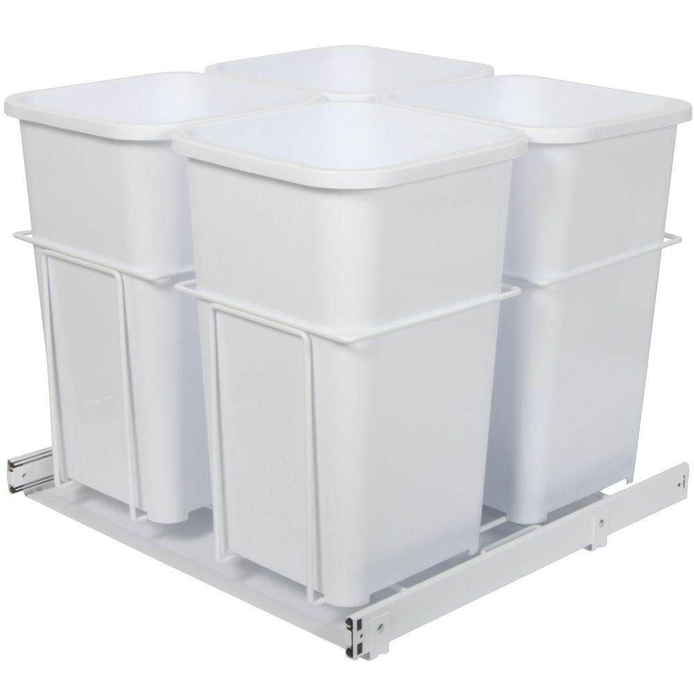 Knape & Vogt 19 in. x 23.38 in. x 22.75 in. In Cabinet Pull Out Bottom Mount Trash Can