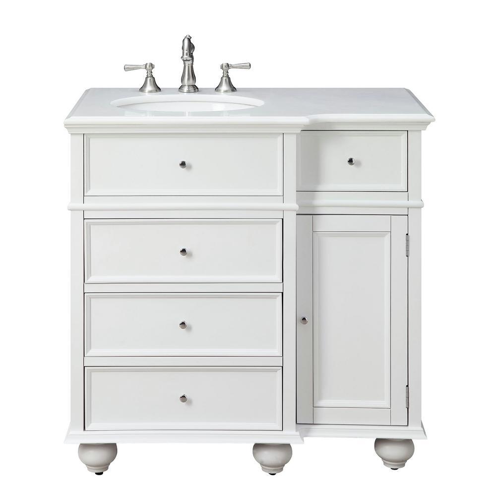 Hampton Harbor 36 in. W x 22 in. D Bath Vanity in White with Natural Marble Vanity Top in White