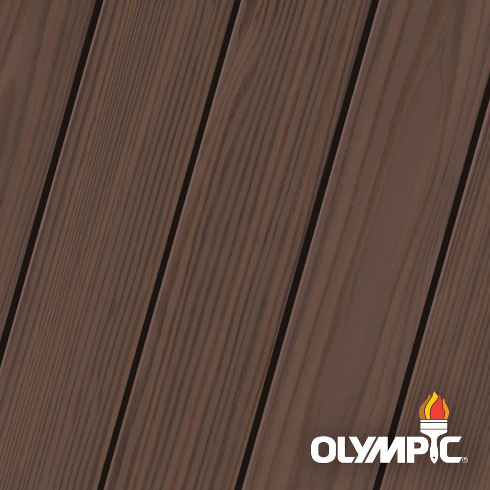 Olympic Elite 1 Gal. Royal Mahogany Semi-Transparent Exterior Wood Stain and Sealant in One
