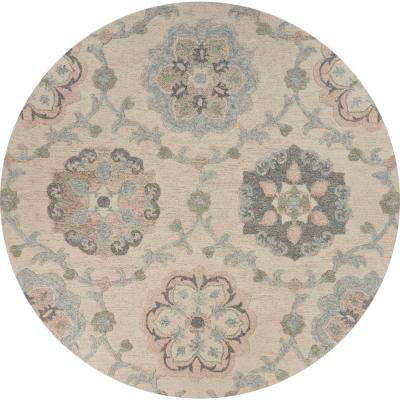 Victorian Ivory / Light Blue 4 ft. 10 in. Traditional Floral Medallion Round Area Rug