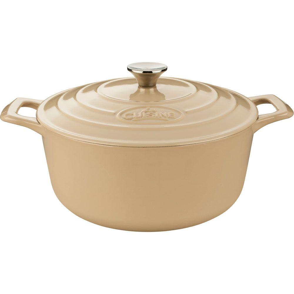 6.5 Qt. Cast Iron Round Casserole with Enamel Finish in Cream