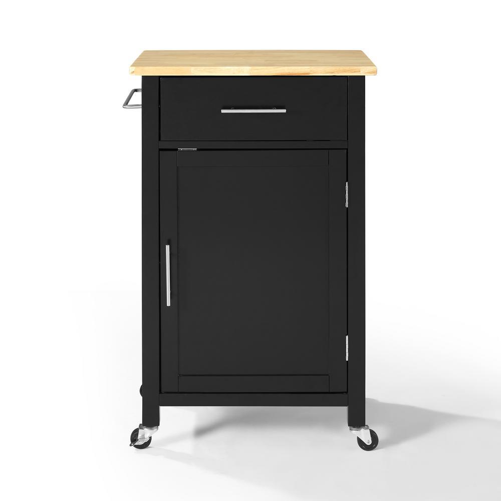 Savannah Black with Wood Top Compact Kitchen Island