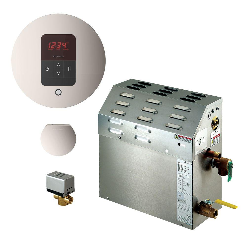 7.5kW Steam Bath Generator with iTempo AutoFlush Round Package in Polished