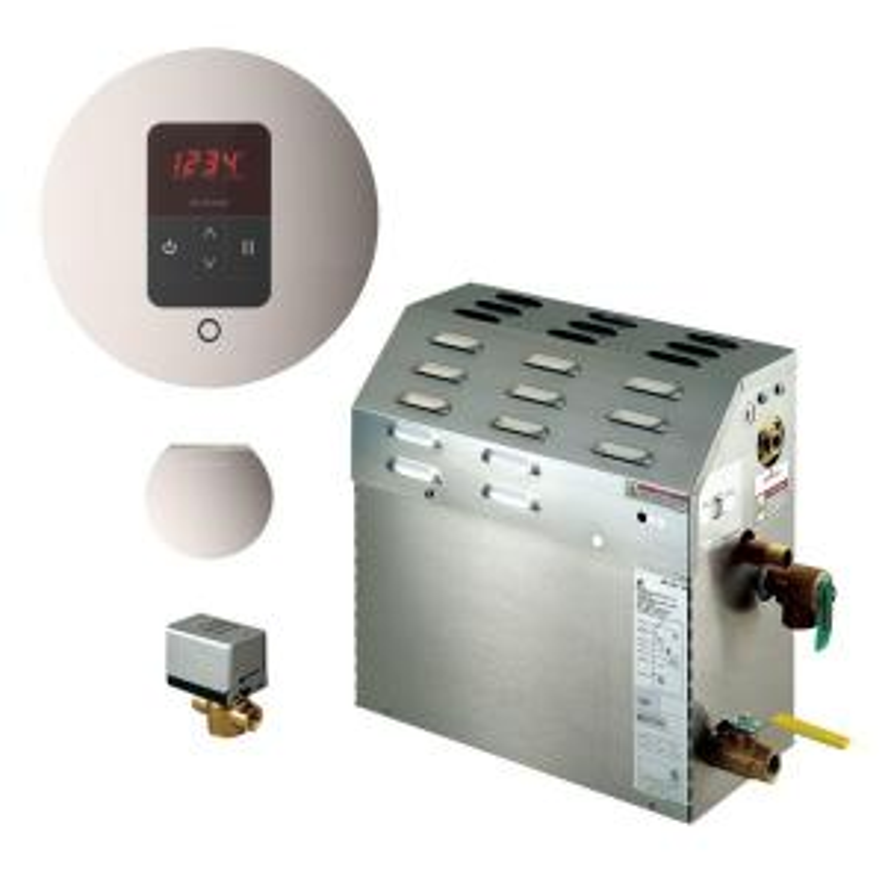 Mr. Steam 9kW Steam Bath Generator with iTempo AutoFlush Round Package in Polished Nickel by Mr. Steam
