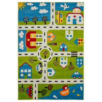 Whimsical Green/Cream 4 ft. x 6 ft. Indoor Area Rug