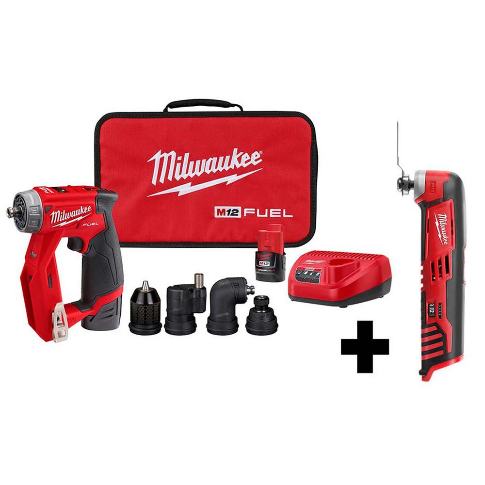 Milwaukee M12 FUEL 12-Volt Lithium-Ion Brushless Cordless 4-in-1 Installation 3/8 in. Drill Driver Kit with M12 Multi-Tool