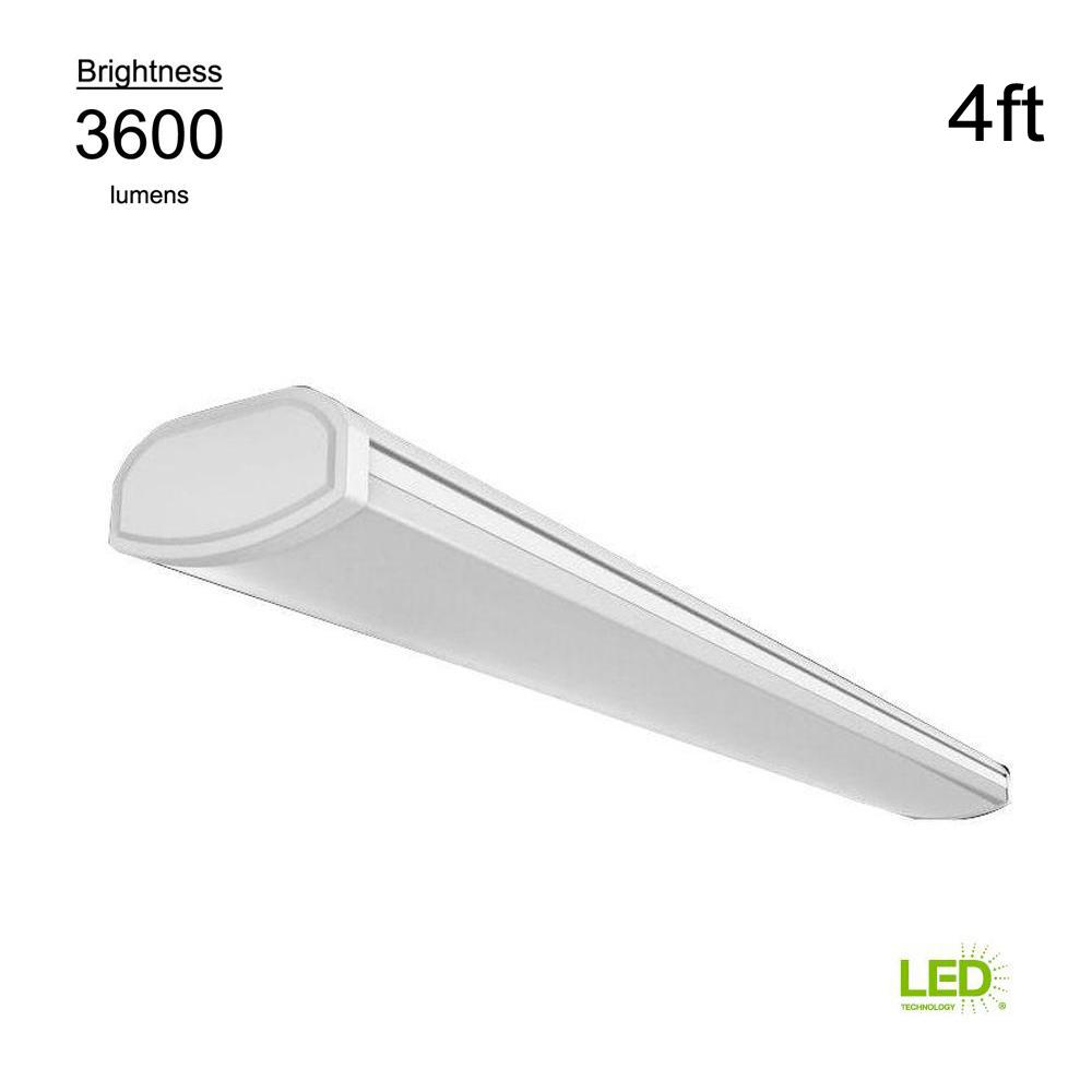 Brilliant Commercial Electric Low Profile 4 Ft 3600 Lumens Integrated Led White Wraparound Ceiling Light Direct Wire 4000K Bright White 120 Volt Home Interior And Landscaping Ponolsignezvosmurscom