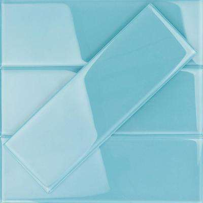 Contempo 4 in. x 12 in. x 8 mm Turquoise Polished Glass Floor and Wall Tile