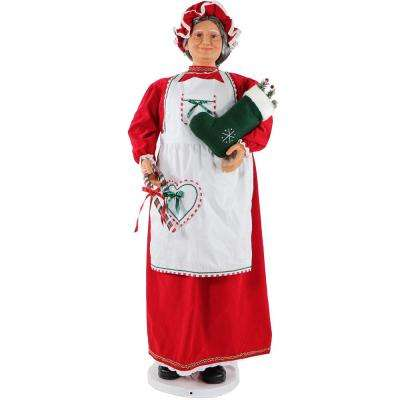 58 in. Christmas Dancing Mrs. Claus in Baking Outfit with Stocking and Candy Cane