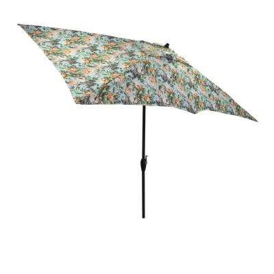 10 ft. x 6 ft. Aluminum Market Tilt Patio Umbrella in Charleston Floral