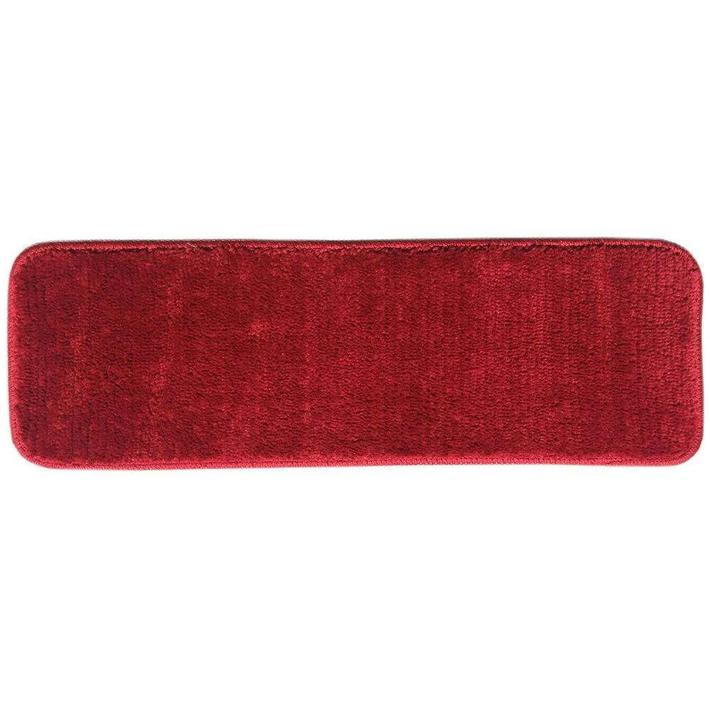 Ottomanson Softy Collection Red 9 In. X 26 In. Rubber Back Stair Tread (
