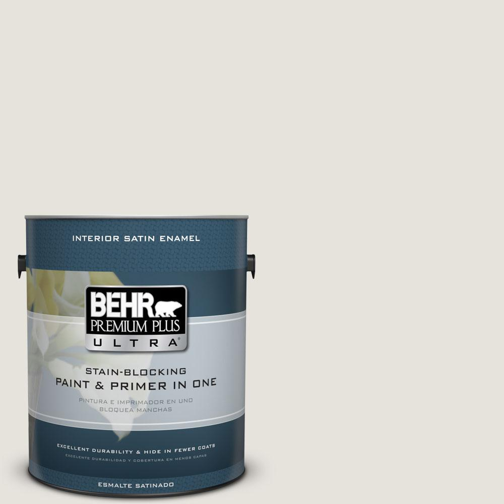 BEHR Premium Plus Ultra Home Decorators Collection 1-gal. #HDC-NT-21 Weathered White Satin Enamel Interior Paint