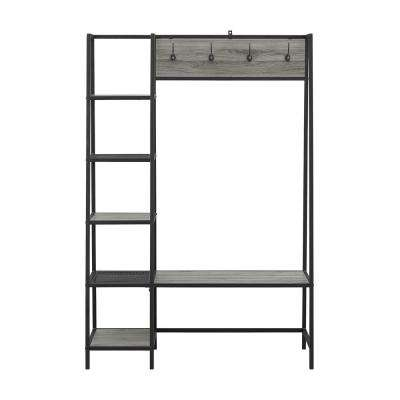 68 in. Slate Grey Angled Side Hall Tree with Storage