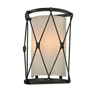 Palisade 2-Light Aged Pewter 14 in. W Wall Sconce with Hardback Linen Shade