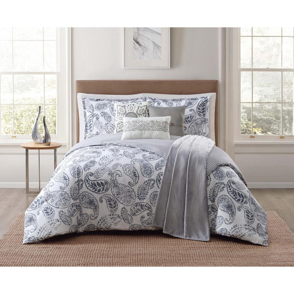 Brooktree 7-Piece White King Comforter Set