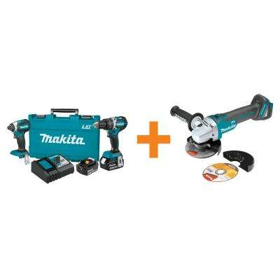 18-Volt LXT Lithium-Ion Brushless Cordless Hammer Drill/Impact Driver Combo Kit (2Pc) w/BONUS 18V Cut-Off/Angle Grinder