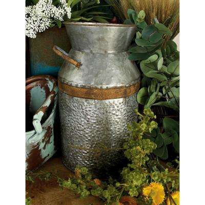 14 in. H Gray Galvanized Tin Decorative Milk Can with Rust Band Handles