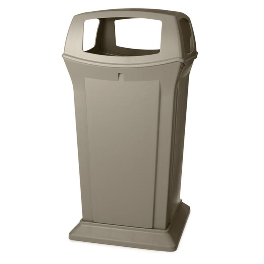 Ranger 65 Gal. Beige Open Side Trash Can