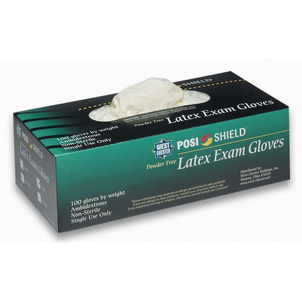 West Chester Exam Powder Free Latex Gloves, Large - 100 C...