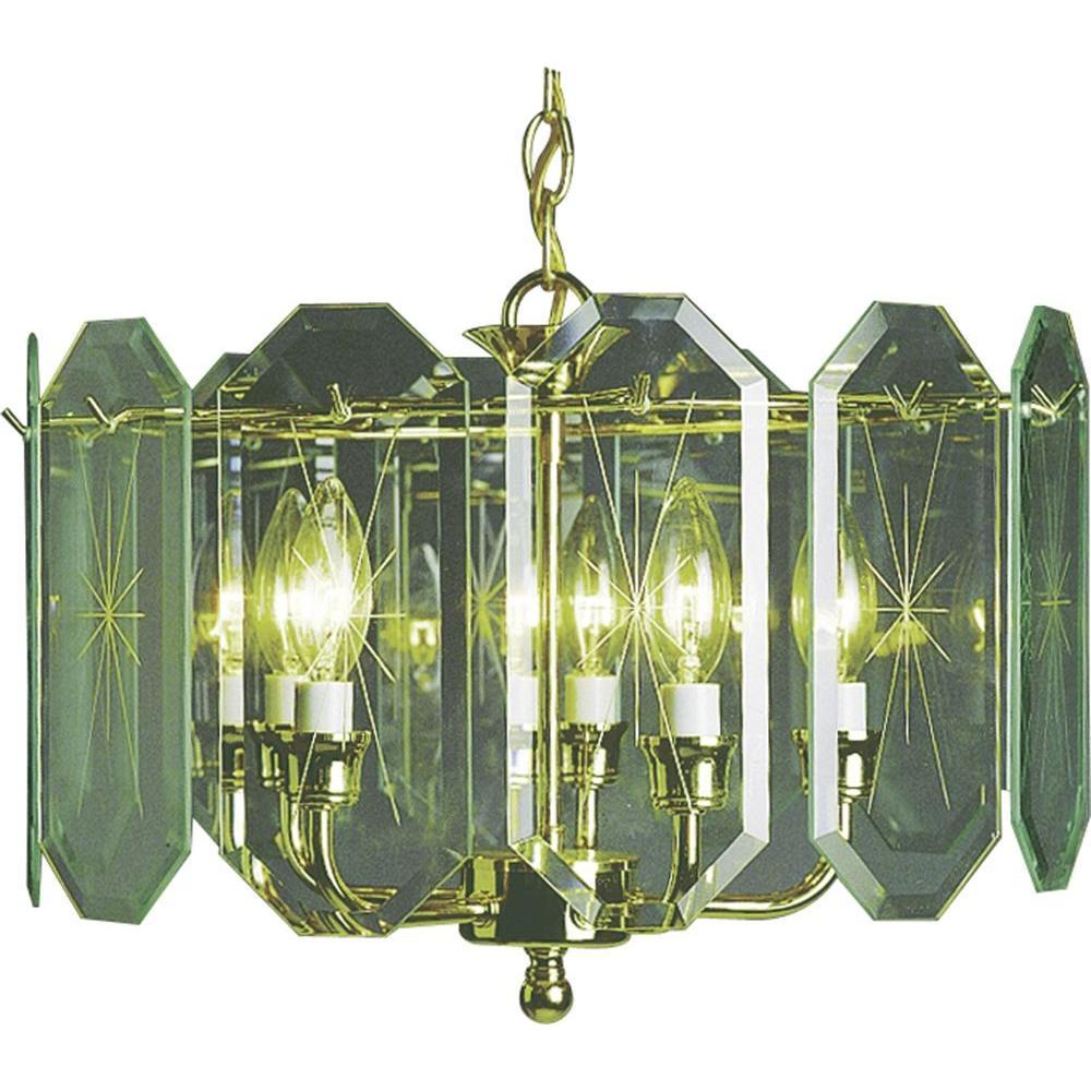 5-Light Polished Brass Interior Chandelier