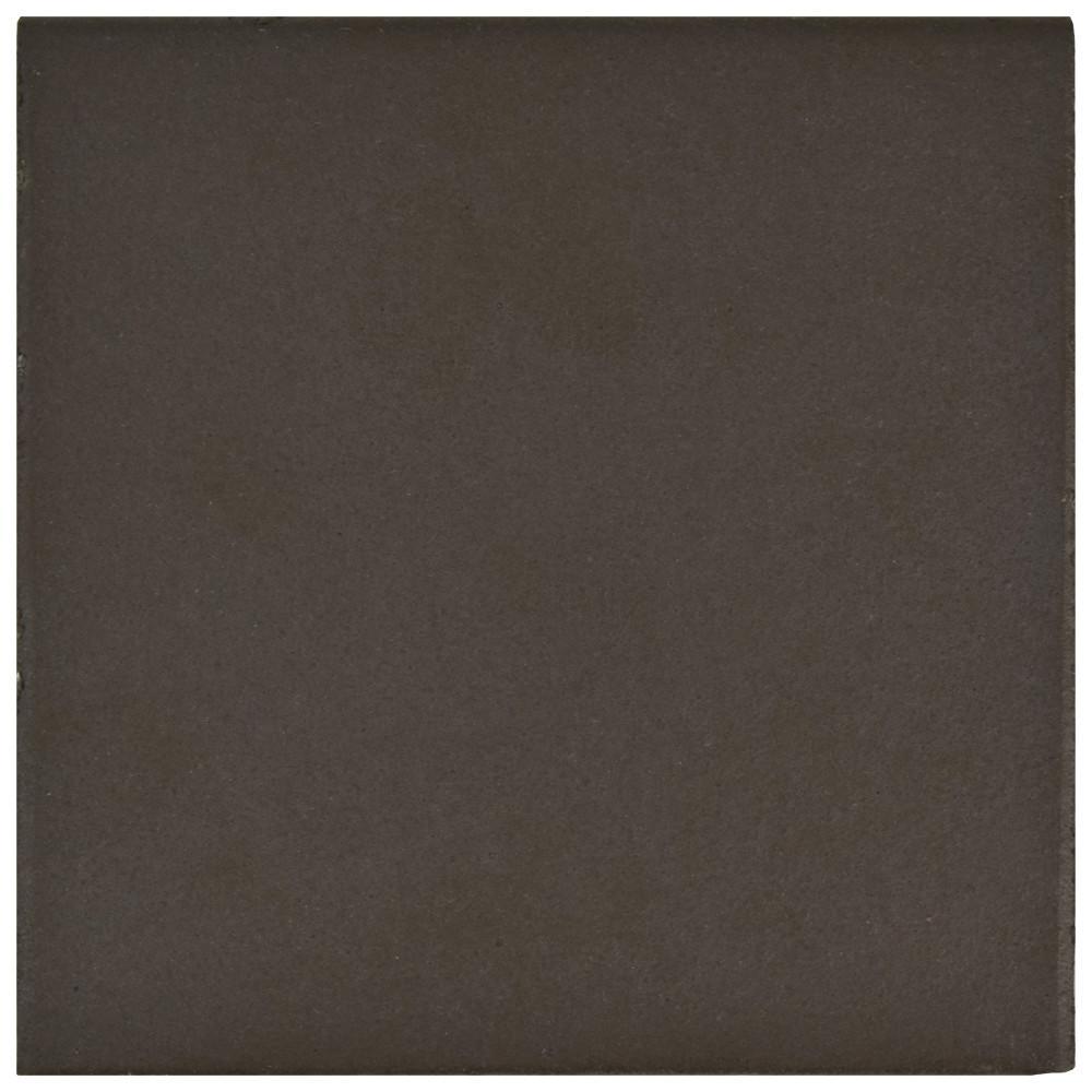 Klinker Bullnose Chocolate Black 5-7/8 in. x 5-7/8 in. Ceramic Floor and Wall Quarry Tile